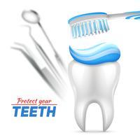 Tandillustration av tänder skydd
