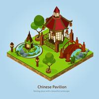 Kinesisk Pavilion Landskap Design Koncept vektor