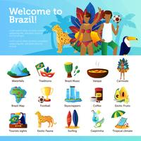 Brasilien für Reisende Infografik Flat Poster vektor