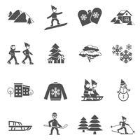 Winter schwarz Icons Set vektor