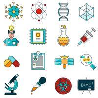 Wissenschaftslinie Icons Set