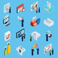 Valkampanj och omröstningsisometriska ikoner