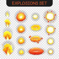 tecknade explosion transparent uppsättning vektor