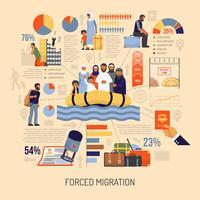 Flache Einwanderung Infografiken