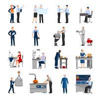 Fabriksarbetare Människor Ikoner Set