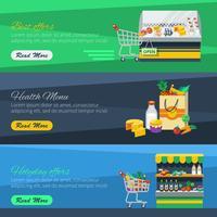 Drei horizontale Supermarktfahnen
