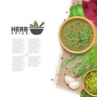 Örter kryddor mat kryddor information post vektor