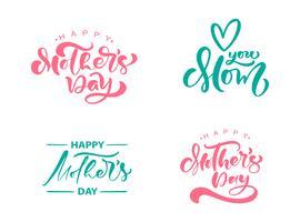 Satz von Phrasen am Happy Muttertag. Vektor Schriftzug Kalligraphie Text. Moderne gezeichnete Zitate der Weinlese Hand. Beste Mutter überhaupt Illustration