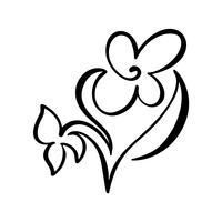 Ununterbrochene Linie Handzeichnung kalligraphische Vektorblumenkonzept-Logoschönheit. Skandinavisches Frühlingsblumenmusterelement im minimalen Stil. Schwarz und weiß vektor