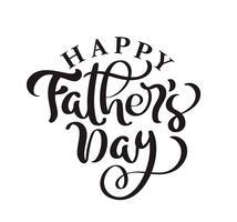 Glücklicher Vatertag, der schwarzen Vektorkalligraphietext beschriftet. Handgeschriebene Phrase der modernen Weinlesebeschriftung. Beste Vati überhaupt Illustration