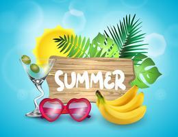 Sommerzeit-Vektor-Fahnendesign. vektor