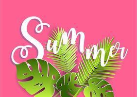Vektor Sommer Poster. Papierschnittstil.