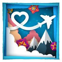 Kärlek papper moln. Flygplan illustration. vektor