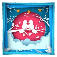 Fågel kärlek illustration. Papperslandskap.