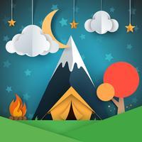 Karikaturpapierlandschaft. Baum, Berg, Feuer, Zelt, Mond, Wolkensternabbildung.