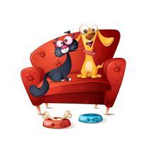 Katt och hund - tecknad illustration.