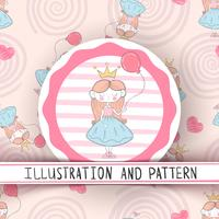 Nette kleine Prinzessin - nahtloses Muster vektor