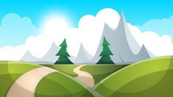 Tecknad landskaps illustration. Sol. väg, moln kulle