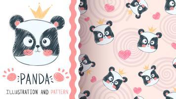 Gullig panda illustration - sömlöst mönster