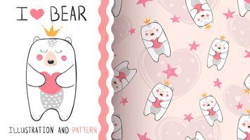 Kleine Bärenprinzessin - nahtloses Muster
