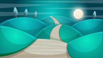 Tecknat nattlandskap. Fir, måne illustration. Månen och molnet