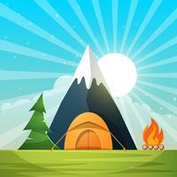 Tecknat papperslandskap. Träd, berg, eld, tält, mån, moln, stjärna illustration.