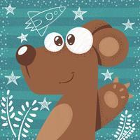 Gullig björn - söt tecknad illustration.