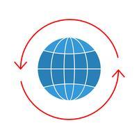 Globus flach Multi Farbe Symbol