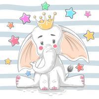 Söt prinsessa elefant - tecknade figurer. vektor