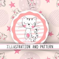 Gullig katt - tecknad film sömlöst mönster vektor