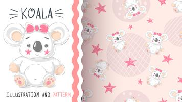 Söt teddy koala - sömlöst mönster