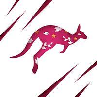Tecknad papper känguru. Moln landskap.