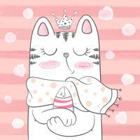 Gullig prinsessa katt med fisk