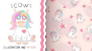 Söt teddy unicorn-sömlöst mönster