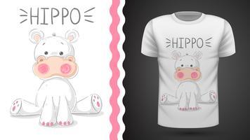 Gullig flodhäst - idé för tryckt t-shirt vektor