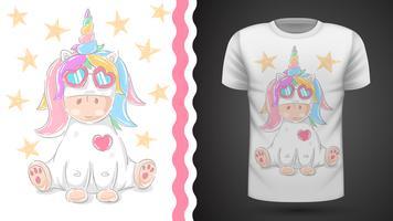 Gullig enhörning - idé för tryckt t-shirt