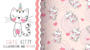 Söt kitty enhörning - sömlöst mönster.
