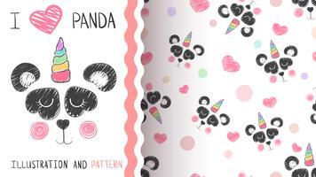 Söt panda, enhörning - sömlöst mönster.