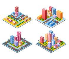 Bunte isometrische Stadt 3D vektor