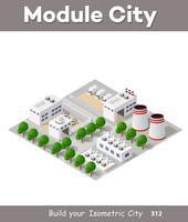 Vektor isometrisk fabrik byggnad