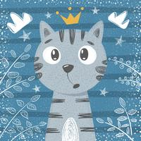 Söt liten prinsessa - katttecken vektor