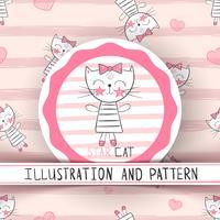 Nette Katze - nahtloses Muster der Karikatur