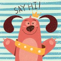 Gullig, rolig hund - tecknad illustration.