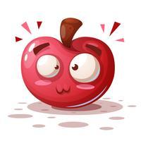 Söt, roligt - tecknad äpple tecken.