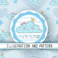 Nette Wolke der Prinzessin - nahtloses Muster