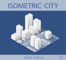 Die isometrische Stadt mit Wolkenkratzer