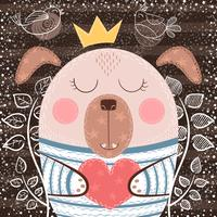 Gullig tecknad hund - rolig illustration.