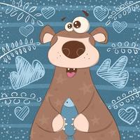 Gullig brun björn med fisk