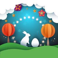 Kaninchen, Ostern Abbildung. Karikaturpapierlandschaft.