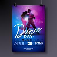 Dance Day Party Flyer Design mit Paartanzentango auf glänzendem buntem Hintergrund.